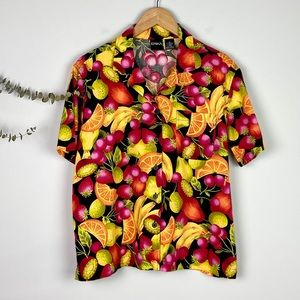Erika Vintage Fruit Salad Colorful ButtonUp Blouse